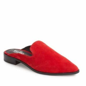 Shelly's London red and black mules